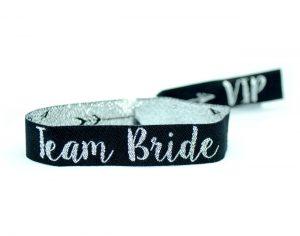 team bride silver black hen party wristbands