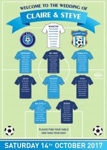 football shirts wedding seating table plan