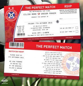 football soccer tickets wedding invitations perfect match