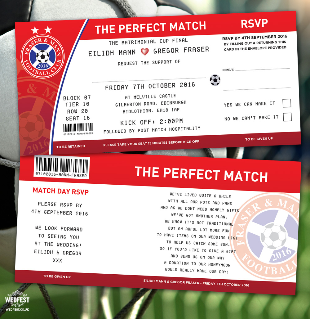 football soccer tickets wedding invitations perfect match