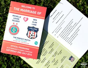 football themed wedding order of service booklets