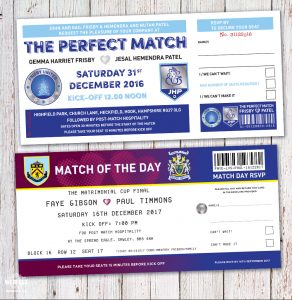 football ticket wedding invites soccer