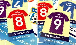 football wedding place cards