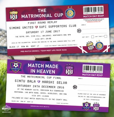 match made in heaven football ticket wedding invitation