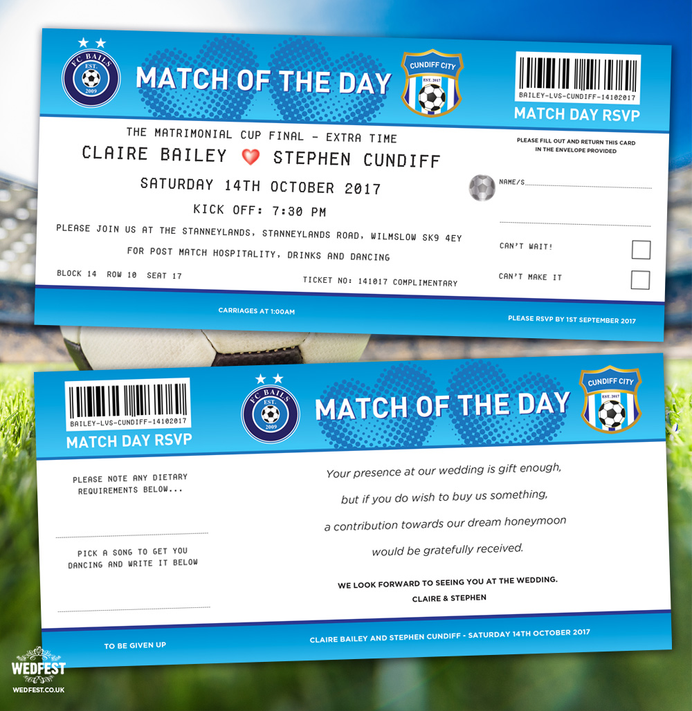 match of the day football ticket wedding invites