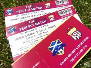 personalised football wedding invitations