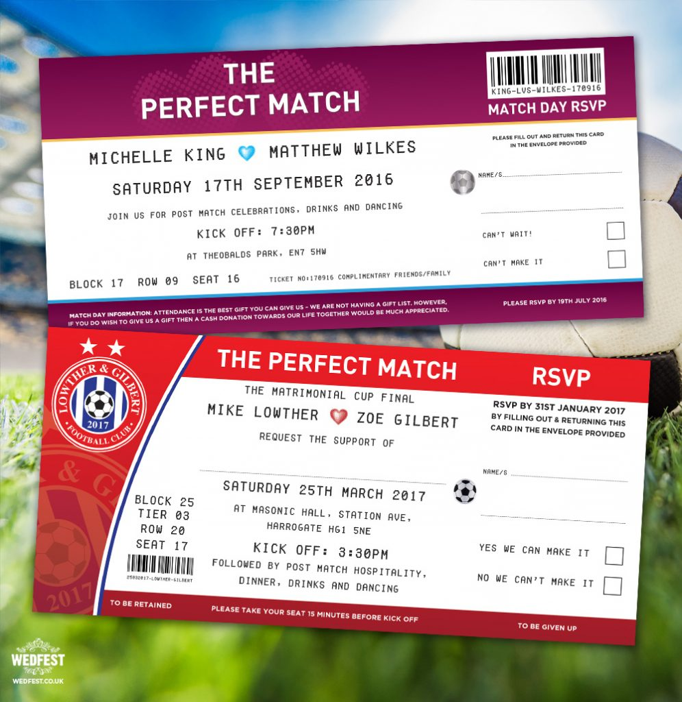 the perfect match football wedding invitations
