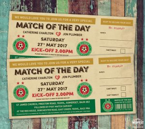 vintage football ticket wedding invitations