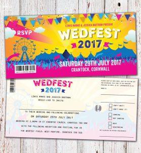 wedfest festival ticket wedding invitation