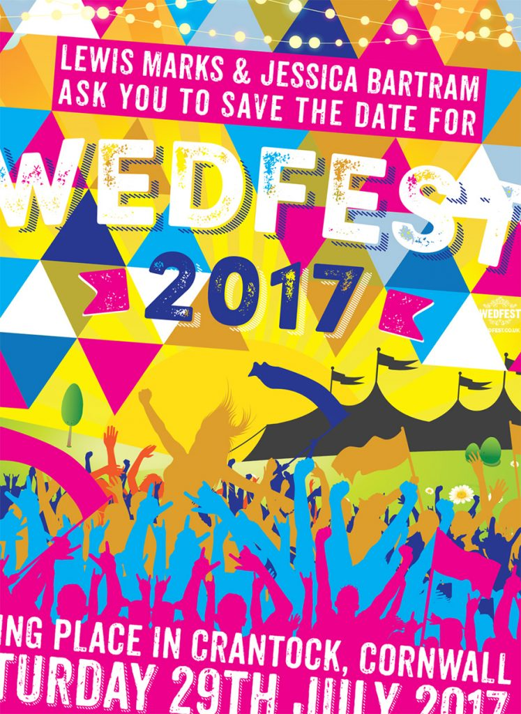 wedfest festival wedding save the date cards