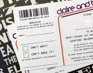 gig ticket themed invites