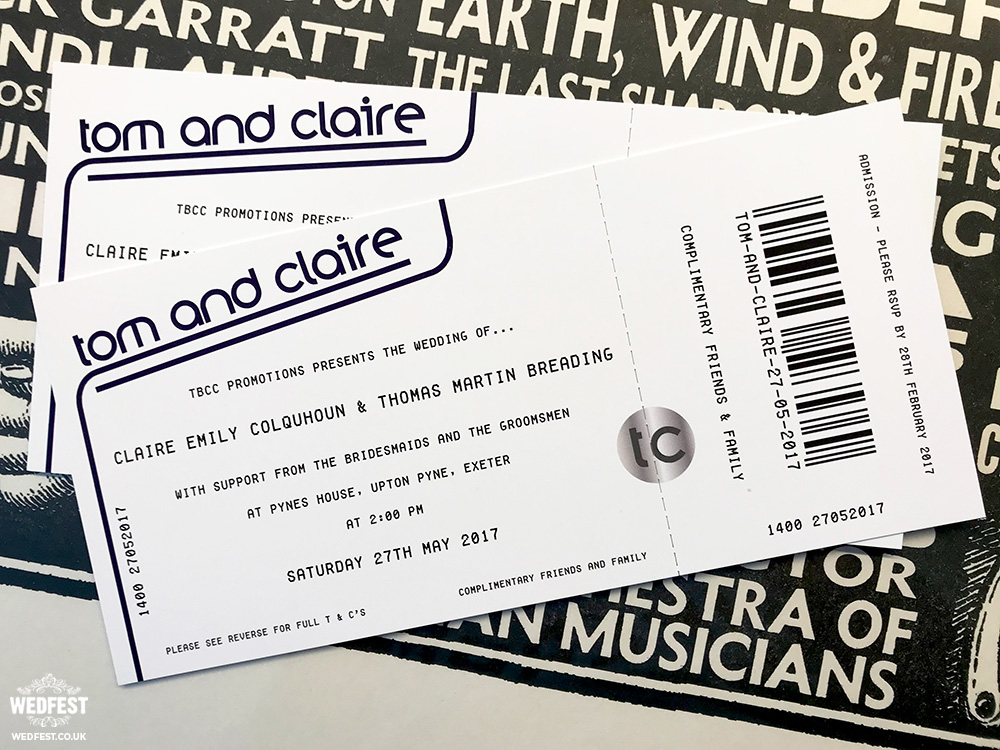 gig ticket wedding invites