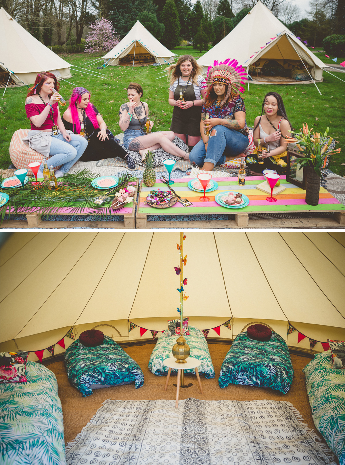 hen camp hen party glamping
