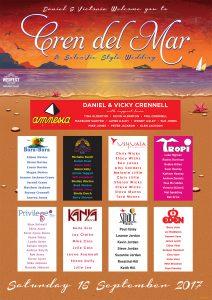 Eivissa ibiza theme wedding table plan