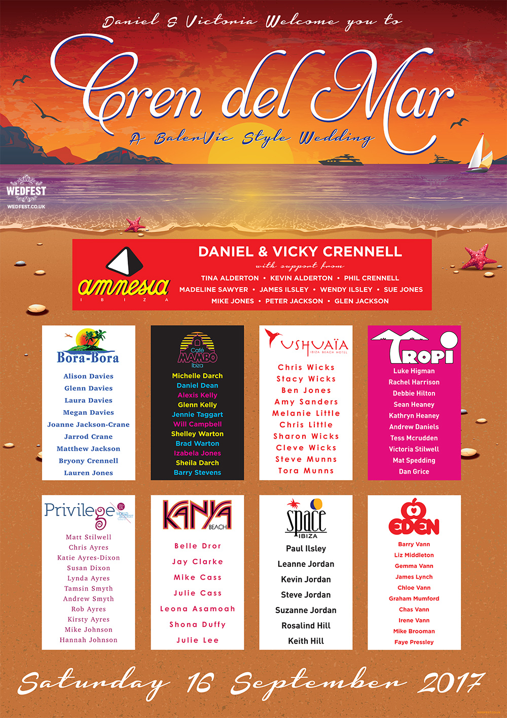 Eivissa ibiza theme wedding table plan