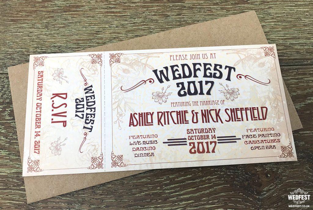 rustic ticket wedding invitations
