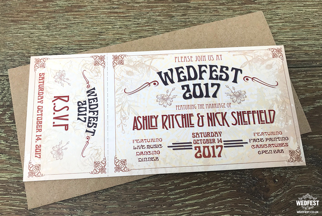 rustic ticket wedding invitations