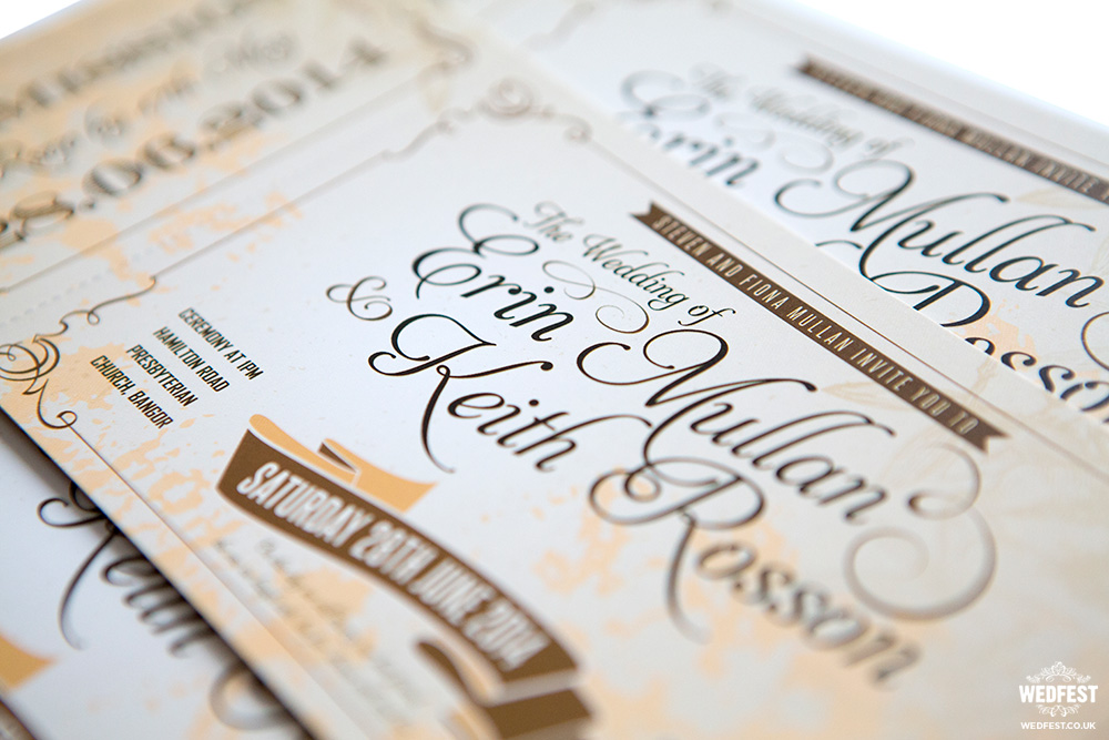 shabby chic vintage ticket wedding invites