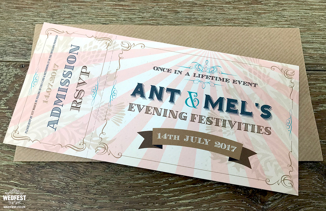 vintage tickets wedding invites