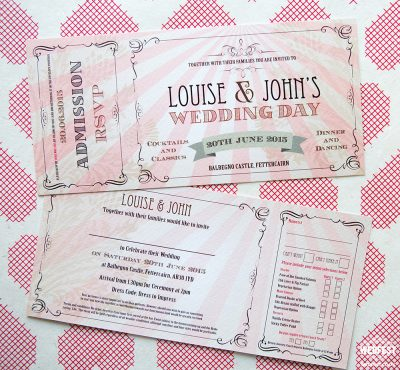 wedfest vintage chic ticket wedding invitations