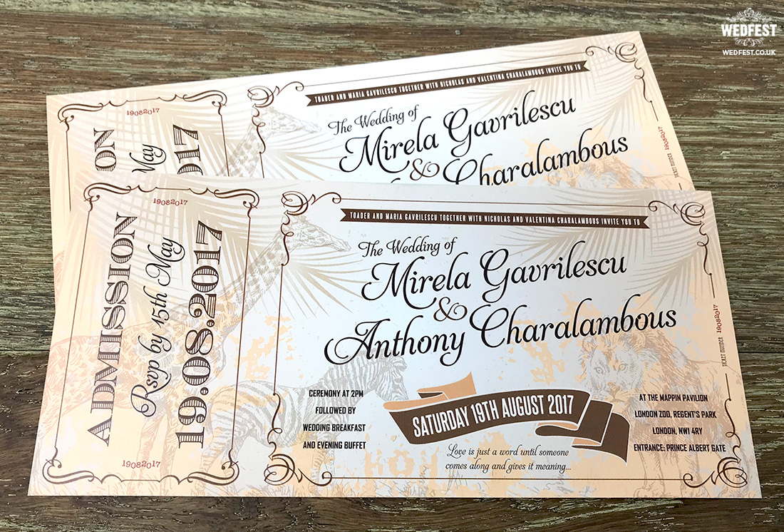 zoo animal ticket vintage wedding invitations