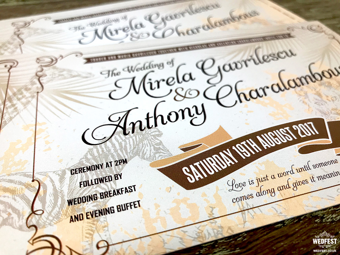 zoo animal vintage ticket wedding invites