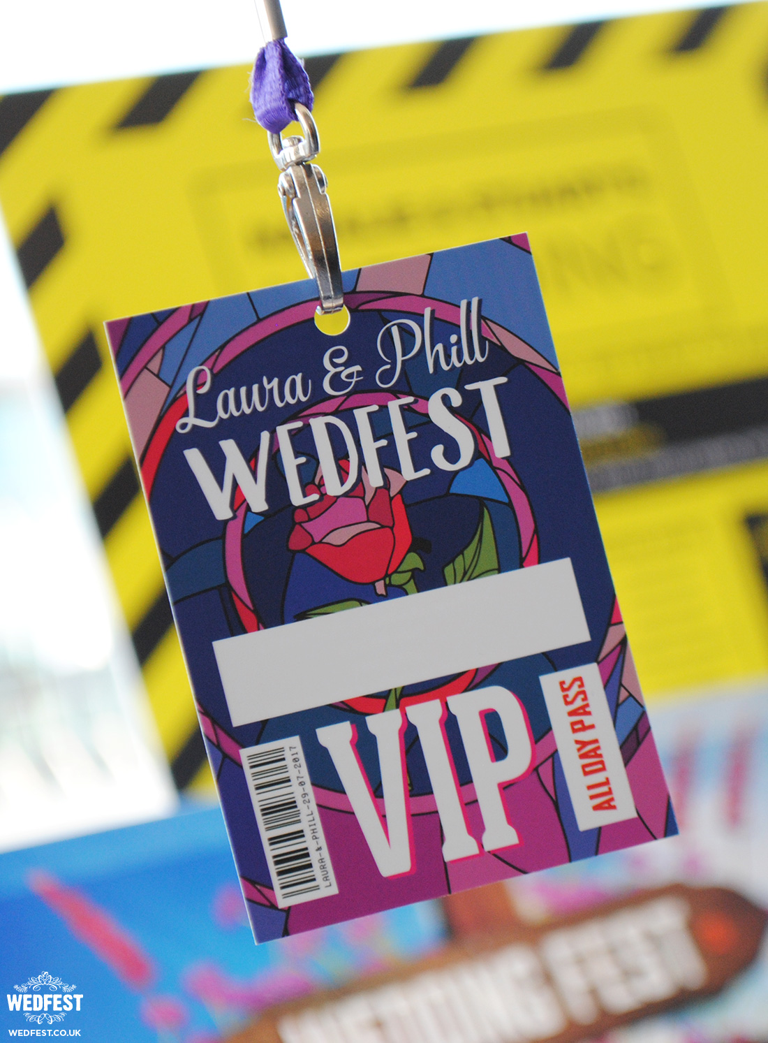 beauty and the beast themed wedding vip lanyard pass