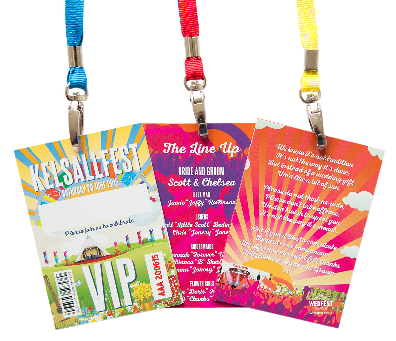 festival wedding lanyards program invites