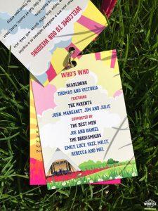 festival wedding program lanyard