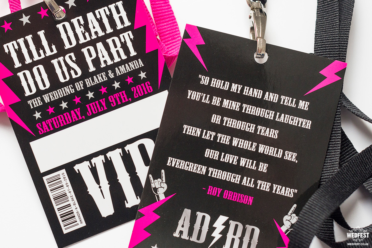 rock n roll bride wedding vip pass
