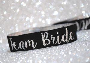 team bride silver black elegant classy hen party wristbands