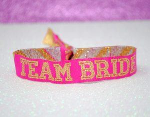 team bride cheerleader pink gold hen party wristbands
