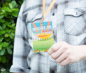 wedfest wedstock festival wedding lanyard invitation