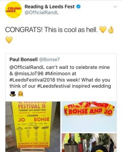 Reading and Leeds festival twitter account showing the love for Bonse & Jo's wedding stationery