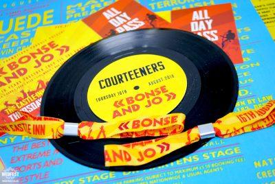 reading festival wedding stationery invites vinyl record wristbands