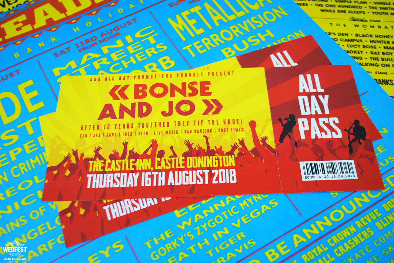 reading leeds festival themed wedding invitations
