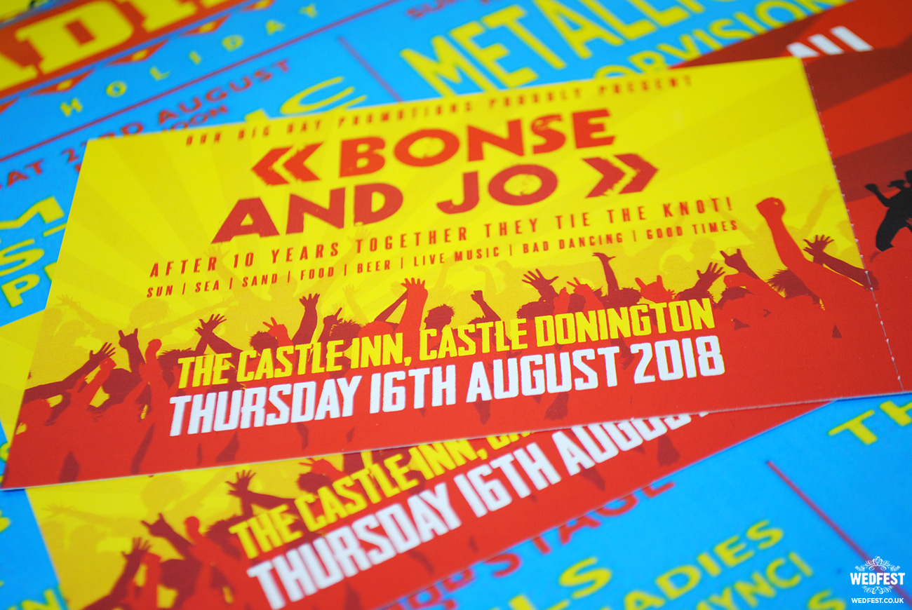 reading leeds festival wedding invites
