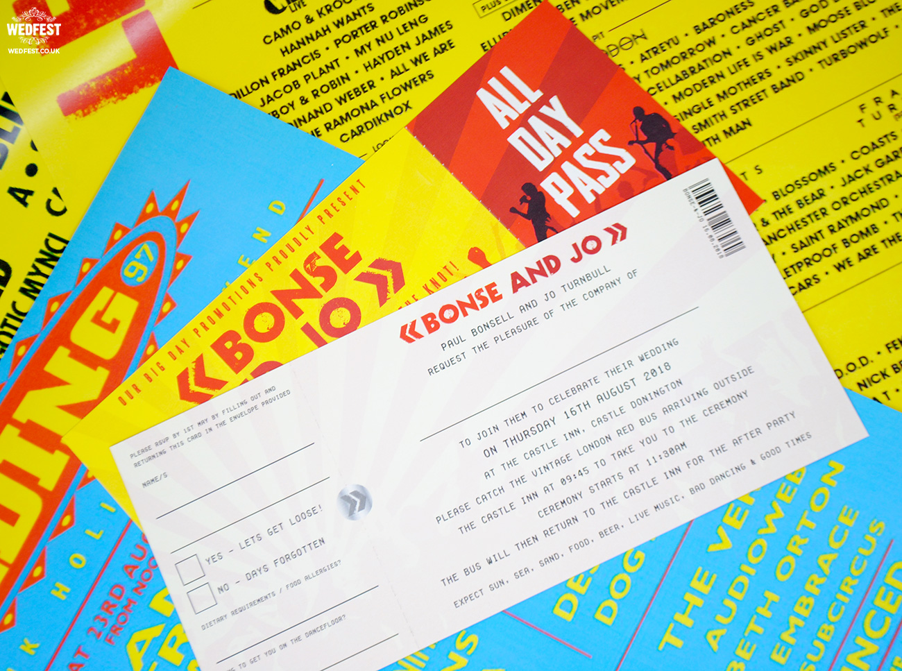 wedfest reading leeds festival wedding ticket invitations
