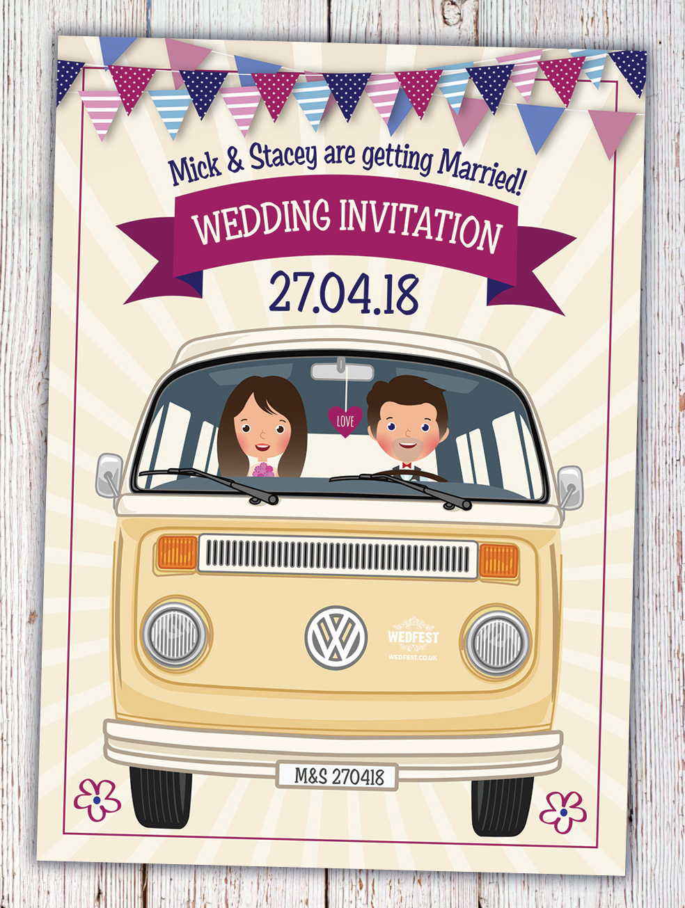 caricature wedding invitation vw van hipster wedding invitation