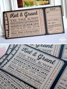 cinema movie ticket wedding invitations ireland