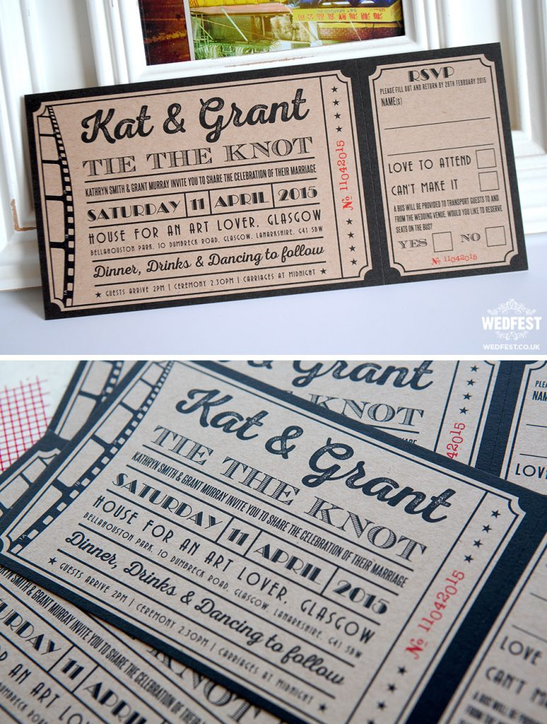 cinema movie ticket wedding invitations ireland