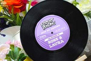 custom vinyl record wedding table number centrepiece
