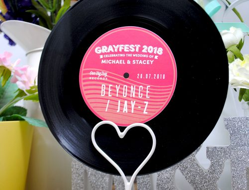 Custom Vinyl Record Wedding Table Centrepieces