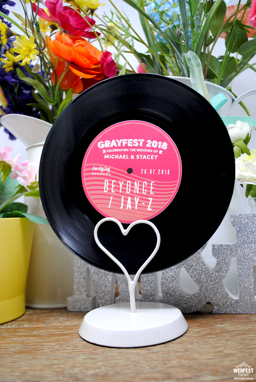 custom wedding centrepieces vinyl records