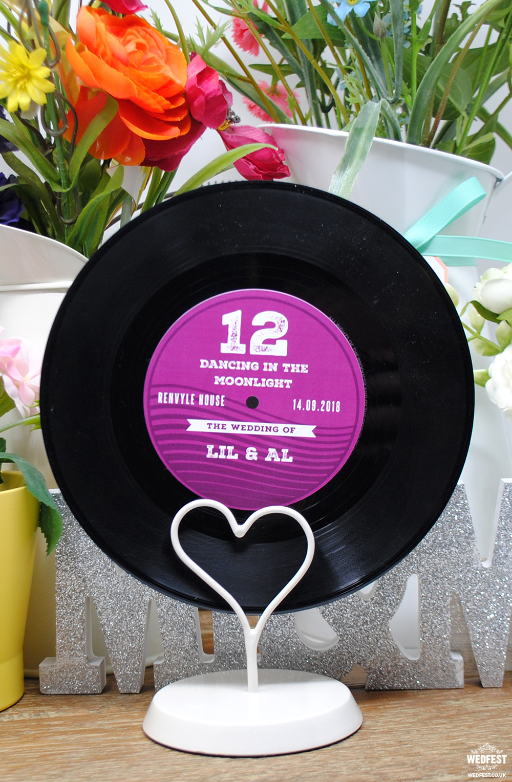 customised vinyl record wedding table names numbers