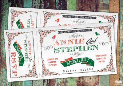 festival ticket wedding invites galway ireland eire