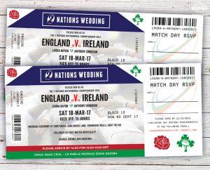 ireland rugby ticket wedding invites