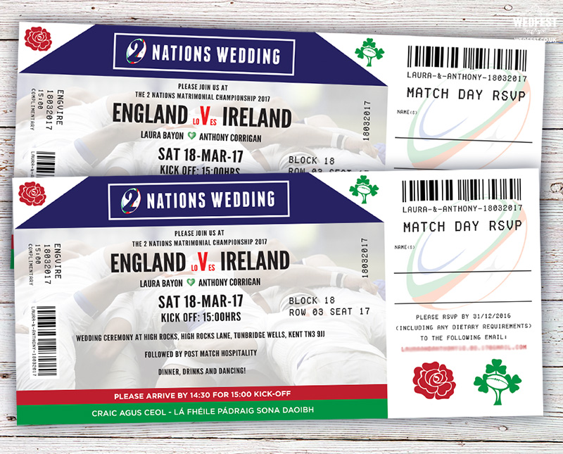 ireland rugby ticket wedding invites