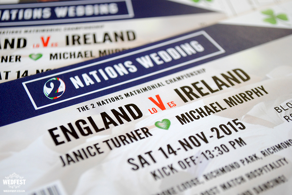 irish ireland wedding rugby ticket wedding invite