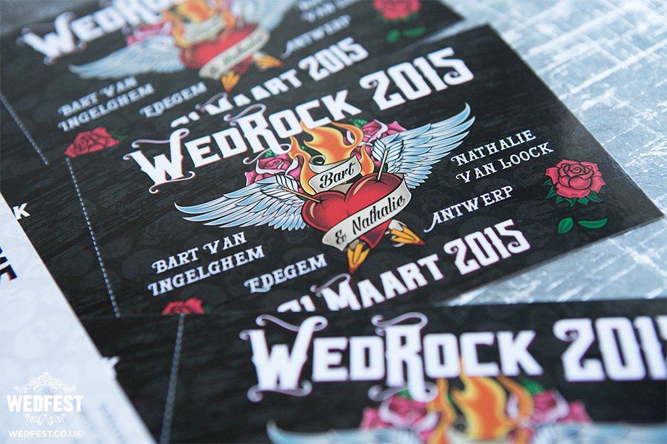 irish rock n roll wedding invitations